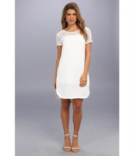 DKNYC S/S Tunic Dress w/ Stretch Mesh Yoke Womens Dress (White)