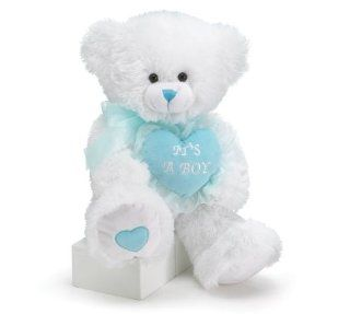 "22"" White Plush Bear with Embroidered Blue Heart saying ""It's A Boy"" : Teddy Bear Plush Toys : Baby"