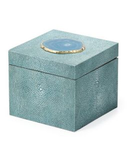 Square Shagreen Box   Regina Andrew Design   Turquoise