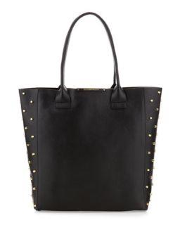 Raina Studded Side Leather Tote Bag, Black   BCBGMAXAZRIA