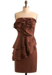 Chocolate T ruffles Dress  Mod Retro Vintage Dresses