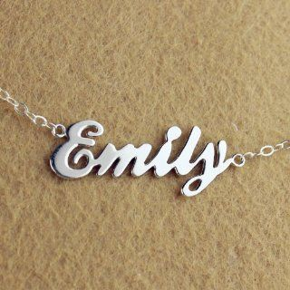 Personalized Emily Style Name Necklace in Silver Plated on Copper Nameplate Necklace Customized Name Jewelry Perfect Gift for Women