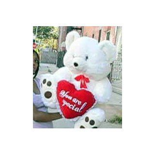 GIANT TEDDY BEAR   30 inches Tall by 24 inches Wide   SOFT, FAT, PREMIUM QUALITY, PLUSH TEDDY BEAR * Holds big HEART That Says: YOU ARE SPECIAL * COLOR: WHITE   PERFECT FOR VALENTINES DAY or ANYDAY: Toys & Games