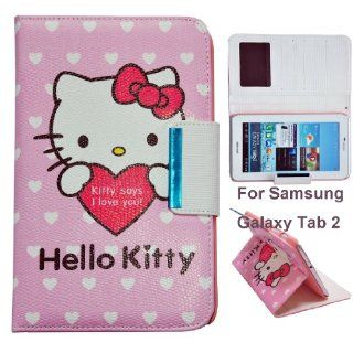 Hello Kitty Cute Leather Smart Case for Samsung Galaxy Tab 2 7.0 Tablet, P3100/P3110 (Samsung Galaxy Tab 2 7.0, Heart theme) Computers & Accessories