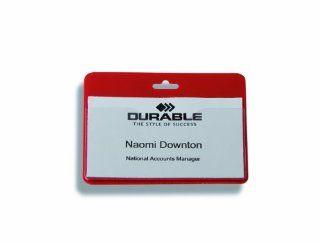 DURABLE SEC/VIS BADGE NO CLIP PK50 RED  Badge Holders