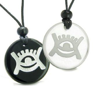 Amulets Love Couple or Best Friends Universe Energy Supernatural All Seeing Eye Magic Powers Quartz Black Onyx Pendant Necklaces: Jewelry