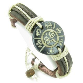 Amulet Genuine Leather Adjustable Bracelet with All Seeing Eye of Buddha and OM Mantra Symbol Natural Bone Lucky Charm: Strand Bracelets: Jewelry