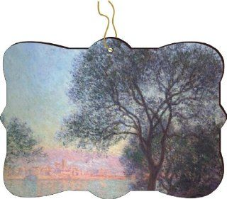 Rikki KnightTM Claude Monet Art Antibes seen from La Salis Design Tree Ornament / Car Rear View Mirror Hanger   Decorative Hanging Ornaments