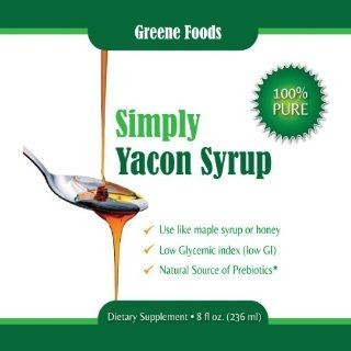 Simply Yacon Syrup   100% Pure Yacon Syrup as seen on Dr Oz. Healthy natural sugar substitute, low GI (low glycemic index), low calorie, FOS pre biotic with weight loss benefits. Limited stock   buy yours today. 8oz bottle. : Grocery & Gourmet Food