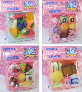 Japanese Variety Party Foods Eraser Set with Travel Case (7 9 Pcs), Only One (1) Will Be Sent Randomly, not all 4.: Toys & Games
