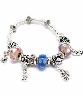 Cat Charm Stretch Bracelet Kitty BR Murano Glass Bead Pink Blue Silver Tone: Jewelry