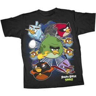 Angry Birds Space Warp Seven Juvy Tee, Black (Large) Movie And Tv Fan T Shirts Clothing