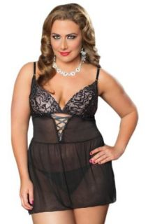 Seven Til Midnight Women's Plus Size Spotlight Babydoll, Black, Queen Size: Clothing