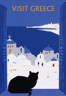 """CAT Visit Greece Black Cat Window. Several sizes available. Travel 12"""" X 16"""" Image Size Vintage Poster Reproduction   Prints"""