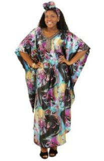 Shimmering Flower Print Caftan Kaftan Dress with Matching Headwrap   Available in Several Color Combinations (Turquoise Yellow) at  Women�s Clothing store