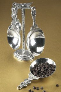 Tin Woodsman Pewter Fleur De Lis Measuring Cups w/Pewter Stand As Seen On Paula Deen Brand new in 2009   Bakeware Accessories