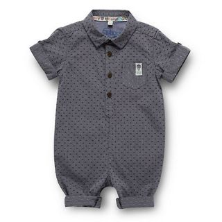 Baker by Ted Baker Babies blue chambray shirt romper suit