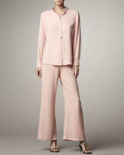 Womens Wide Leg Silk Pants   Go Silk   Ivory (LARGE (12/14))