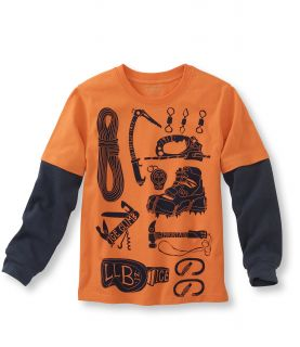 Boys Double Layer Graphic Tee, Climbing Gear Little Boys