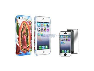 Insten Holy Mary Clip on Rubber Hard Case with Mirror LCD Screen Protector Compatible With Apple iPhone 5 / 5s 861331