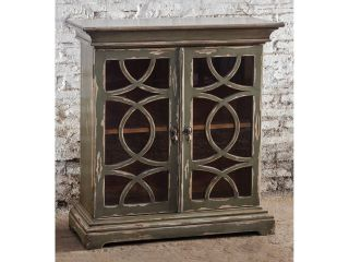 Duran Mahogany Wood Console Cabinet with Glass Door