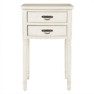 Safavieh Cindy Poplar Wood End Table in White   AMH6575A