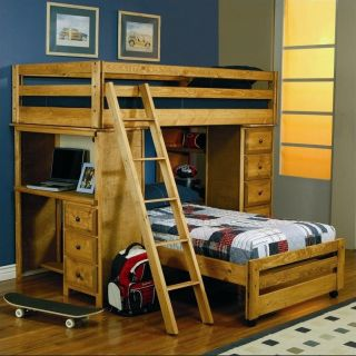 Coaster Wrangle Hill Twin over Twin Loft Bunk Bed in Amber Wash Finish   460141