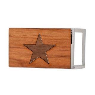 Buckle Rage Western Sheriff Star Badge Real Wood Belt Buckle, POLISHED SILVER, W1028 139 SIL