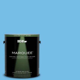 BEHR MARQUEE 1 gal. #550B 4 Costa Rica Blue Semi Gloss Enamel Exterior Paint 545401