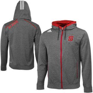 adidas NC State Wolfpack Black Heathered Full Zip Hooded Sweatshirt