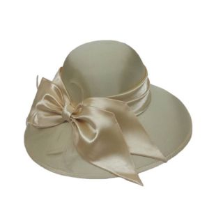 Swan Womens Dressy Silk Fabric Covered Hat with Silk Bow and Feathers