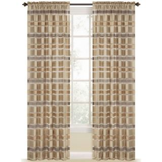 Style Selections Duran 84 in Straw Polyester Rod Pocket Light Filtering Sheer Single Curtain Panel