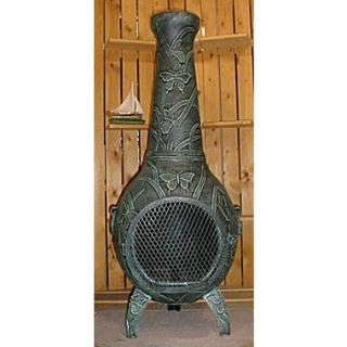 The Blue Rooster Butterfly Style Chiminea; Antique Green