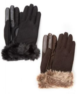 Isotoner Stretch Wool Long Faux Fur Cuffed Gloves