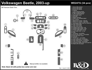 2003, 2004, 2005 Volkswagen Beetle Wood Dash Kits   B&I WD247G DCF   B&I Dash Kits