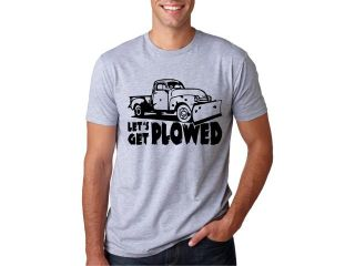 Let's Get Plowed T Shirt Funny Adult Humor Snowy Holiday Tee M