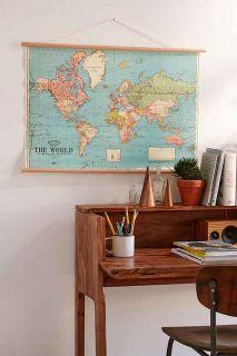 Hanging World Map Art Print