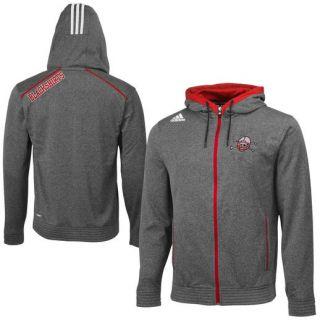 adidas Nebraska Cornhuskers Black Heathered Full Zip Hooded Sweatshirt