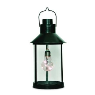 5.82 in. x 10.82 in. H Round Metal Lantern with Plastic Edison Bulb and 5 Warm White Micro LED Light String 42784