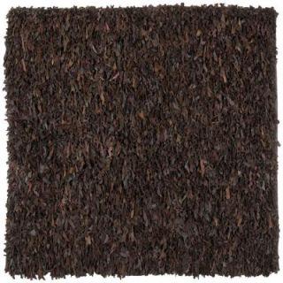 Safavieh Leather Shag Dark Brown 6 ft. x 6 ft. Square Area Rug LSG421D 6SQ