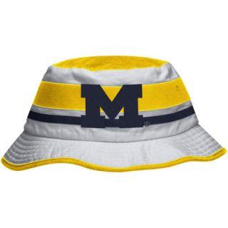Michigan Wolverines adidas Stripe Bucket Hat   White