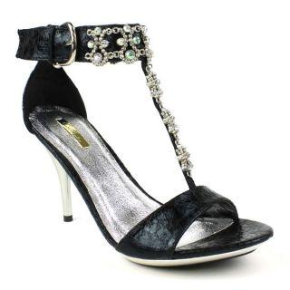 Celeste Womens Ayu 06 Black Rhinestone embellished T strap Sandals