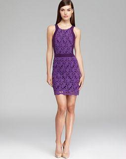 Ali Ro Sleeveless Contrast Lace Dress   Berry