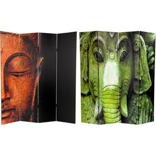 Oriental Furniture 6 ft. Tall Double Sided Buddha and Ganesh Canvas