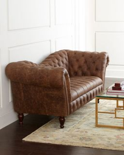 Old Hickory Tannery Red Tufted Leather Sofa & Loveseat