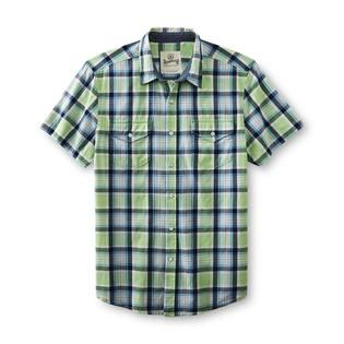 Roebuck & Co. Young Mens Button Front Shirt   Plaid   Clothing, Shoes