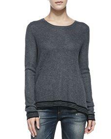 rag & bone/JEAN Nikki Split Back Sweater W/ Striped Trim