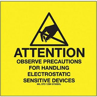 Tape Logic Attention   Observe Precautions Tape Logic (MIL STD 129N Symbol) Shipping Label, 4 x 4, 500/Roll