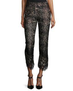 Alexis Mariela Frayed Trim Blouse & Alis Lace Slim Leg Cropped Pants