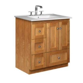 Simplicity by Strasser Shaker 31 in. W x 22 in. D x 35 in. H Vanity with Left Drawers in Natural Alder with Ceramic Vanity Top in White 01.956.2
